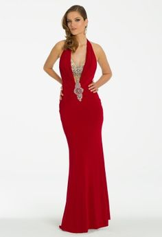 Long Jersey Dress with Beaded Plunging Neckline from Camille La Vie and Group USA #homecoming #prom