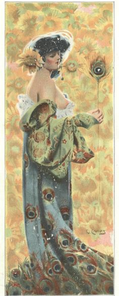 Gaspar Camps 1907 via Peacock's Garden Alphonse Mucha, Art Nouveau, Peacock Art, Peacock Room, Peacock Images, Art And Illustration, Print Pictures, Beautiful Paintings, Art And Architecture