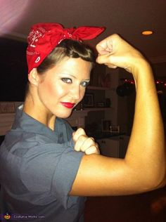 Rosie the Riveter Costume! All you need from your local Goodwill of East Texas store is a grey button up, a red bandana, and then pair it with pants. Paint your lips red and throw your hair in an up-do and don't forget this signature pose throughout the evening!