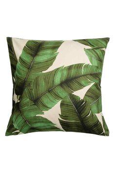 Print motif cushion cover - Natural white/Leaf - Home All   H&M GB 1