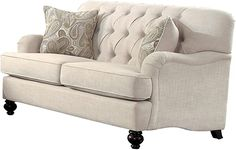 Amazing offer on Homelegance Clemencia Classic Button Tufted English Arm Loveseat Turned Legs Linen-Like Cover, Cream online - Togreatshop Cream Living Room Furniture, Cream Furniture, Cream Living Rooms, Fast Furniture, Living Room Sofa, Furniture Ideas, Tufted Couch, Settee Sofa, Beige