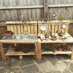 New diy kids outdoor play area ideas pallets mud kitchen ideas Diy Mud Kitchen, Mud Kitchen For Kids, Outdoor Kitchen Design, Kitchen Ideas, Kitchen Designs, Kitchen Pictures, Outdoor Kitchens, Outdoor Play Kitchen, Kitchen Wood