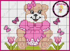 Ursinhos Afghan Patterns, Cross Stitch Patterns, Plastic Canvas, Cross Stitching, Teddy Bear, Kids Rugs, Embroidery, Floral, Animals