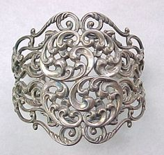 WIDE Ornate Cuff Bracelet, Sterling Silver by Danecraft from Arnold Jewelers on Ruby Lane
