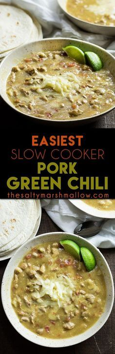 EASY CROCKPOT PORK GREEN CHILI: The easiest recipe for pork green chili that tastes just like what you get in Colorado! This Mexican favorite is good as a stew, and on burritos and enchiladas!