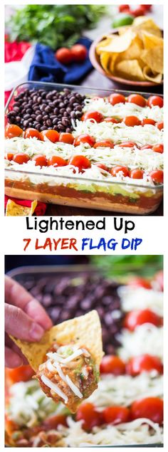 Lightened Up 7 Layer Dip is the perfect party food. By replacing sour cream with hummus and using reduced fat cheese, you save on calories without sacrificing flavor! Lightened Up 7 Layer Dip is the perfect party food. Dip Recipes, Summer Recipes, Appetizer Recipes, Holiday Recipes, Cooking Recipes, Summer Snacks, Easy Recipes, Recipies, Sin Gluten