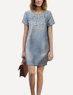shift dress: Beaded Shift Dress