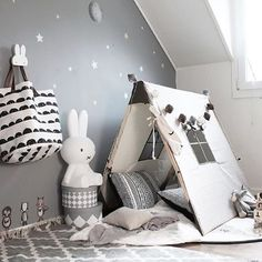 What a great kid's corner by @stickstay.se Ferm Living play tent, Miffy lamp all available at www.istome.co.uk