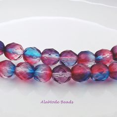 8MM Czech Red and Blue Rounds (20) Fire Polished Faceted Czech Beads by AlaModeBeads on Etsy