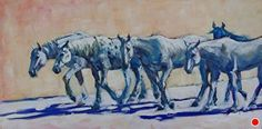 Grays on Parade by Sonja Caywood Oil ~ 15 x 30