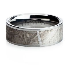 Meteorite Tungsten Mens Ring. This tungsten ring is inlayed with gibeon meteorite which has a higher market value than gold