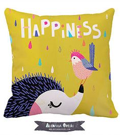 by Antoana Oreski #kindredArtCollective #Pillow #spring #hedgehog #illustration #happiness #cute
