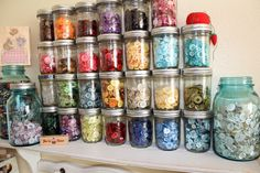 buttons storage and display,  could be done with small jars like baby food jars.