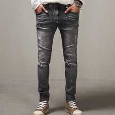 2015 Men slim jeans mens Distressed Biker jeans hiphop pants male pencil pants Washed grey jeans for men free shipping