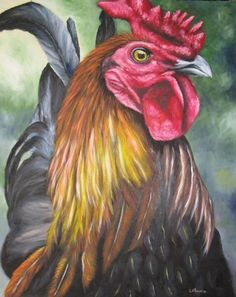 I like the composition and colors. interesting negative spaces around the rooster. Rooster Craft, Rooster Painting, Rooster Decor, Tole Painting, Chicken Painting, Chicken Art, Chickens And Roosters, Hens And Chicks, Wildlife Art