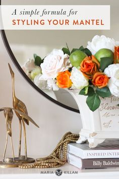 Giant Flowers, Fireplace Mantle, Fall Home Decor, White Decor, Decorative Items, Decor Styles, Mantle Ideas, Eclectic Style, Create