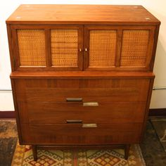 Mid Century Modern Cane And Walnut American Of Martinsville Chest