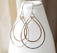 Silver and Gold Double Hoop Earrings-handmade from sterling silver and gold filled wire