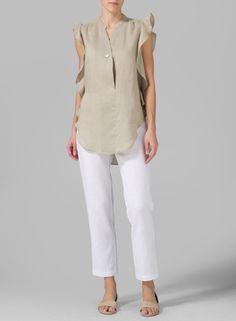 Linen Ruffle Sleeve Top