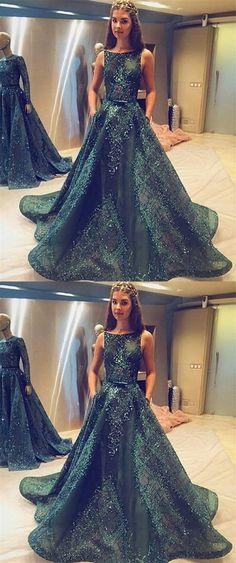 Ball Gown Prom Dresse,Princess Prom Dresses, Long Prom Dress, Tulle Evening Dress,Hunter Green Evening Dresses, Long Formal Dresses #longpromdress #eveningdress #promdress #promgown #green
