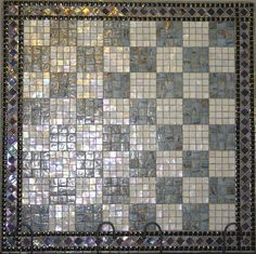 Mosaic tile chess board.