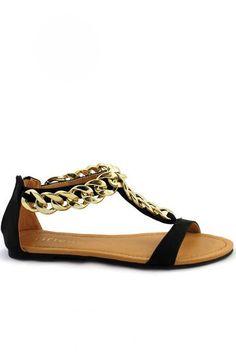 Aurora Chain Link Sandals - Black
