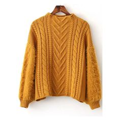 Ginger Cable Knit Crew Neck Lantern Sleeve Sweater (1,795 PHP) ❤ liked on Polyvore featuring tops, sweaters, brown sweater, ribbed crew neck sweater, cable-knit sweater, knit crew neck sweater and brown top