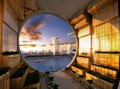 """Guangzhou Circle The central void includes gardens, and is unique for a building of this size. The firm says the """"inner hole is a unique sp. Chinese Architecture, Beautiful Architecture, Interior Architecture, Wuxi, Rem Koolhaas, Suzhou, Zaha Hadid, Architectural Pattern, 3d Visualization"""