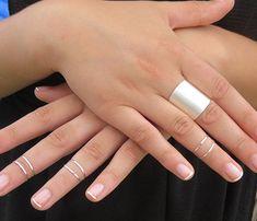 Venta anillo de plata anillos de juego de 6 por HLcollection