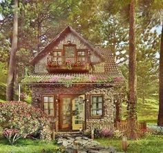 A cozy Rock Cottage is located on the mid-Atlantic Ocean, where the Pine forests. A cozy Rock Cottage is located on the mid-Atlantic Ocean, where the Pine forests meet the sea. this is the vacation house for Doogy Cute Cottage, Cottage In The Woods, Cabins In The Woods, Cottage Ideas, Cottage Crafts, House In The Woods, Stone Cottages, Cabins And Cottages, Stone Houses