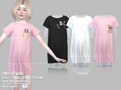 Tees Dress: Tees Dress Pocket Version: NitroPanic - The sims 4 Custom Content. Sims 4 Toddler Clothes, Sims 4 Cc Kids Clothing, Sims 4 Mods Clothes, Toddler Outfits, Kids Outfits, Babies Clothes, Children Clothes, Girl Clothing, Toddler Girls
