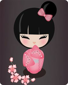 kokeshi2 | Flickr – Compartilhamento de fotos! | pink and kokeshi
