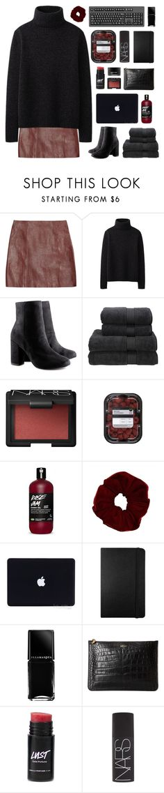"""""""arabella's got a 70's head"""" by acquiescence ❤ liked on Polyvore featuring T By Alexander Wang, Uniqlo, H&M, Christy, NARS Cosmetics, Moleskine, Illamasqua, Alexander McQueen, Koh Gen Do and women's clothing"""
