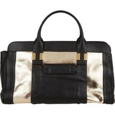 48% off Chloe - Medium Leather Tote Bag Alice Python Shiny Gold Black - $2,079.00