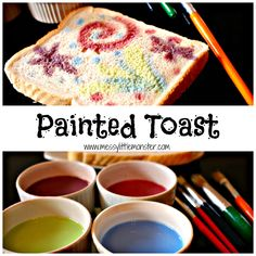 Painted firework toast. Use this simple edible paint recipe to paint a design onto bread. This is a fun activity for kids to celebrate bonfire night or new year.