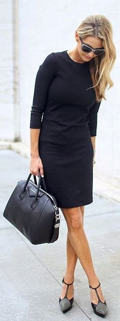 Street style black dress and silver heels