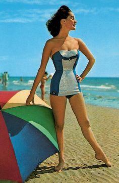 Blue 1950's Swimsuit. <3