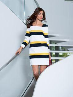 113 0214 B Couture Fashion, Diy Fashion, Burda Style Magazine, Shift Dress Pattern, Dress Making Patterns, How To Make Clothes, Classy Outfits, Pattern Fashion, Striped Dress