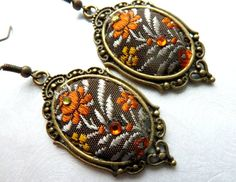 Bronze earrings Classic Gothic orange color Fabric Swarowsky crystals  Jewelry Earrings Fiber orange earrings dangle fabric vintage style flower earrings cabachon Swarovski crystals textile jewelry  Length- 2 1/2 inches  I came up with a unique technology, consisting of 8-10 separate operations, with the result that they were created unusual, bright, reminiscent of ancient mosaics or ancient embroidery products