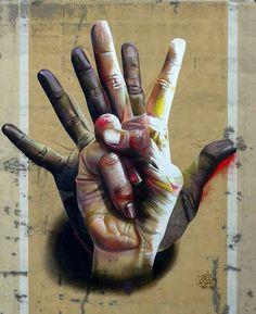 Amazing street art - Hands