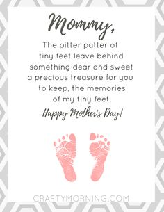 Free Pitter Patter of Tiny Feet Printable Poem for mom on Mother's Day- Crafty Morning