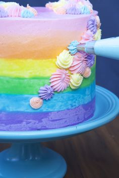 How to Make an Ombré Rainbow Cake. That tastes just as good as it looks.