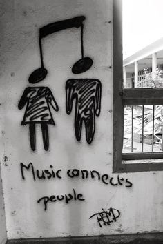 Music street art note - music connects people