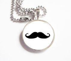 Black Mustache Glass Pendant Necklace Dome Ball Chain Jewelry Birthday Keepsake Gift