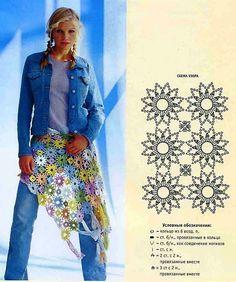 crochet flower shawl -- diagram