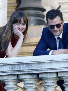 "dakotasteele: "" Dakota Johnson and Jamie Dornan on set today in Paris (x) ""filming fifty shades freed july 18"