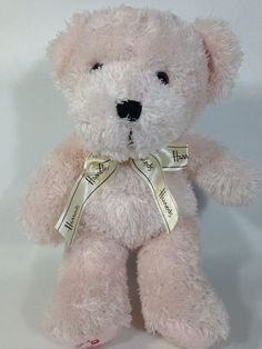 Beautiful Harrods Teddy Bear Push Pink Cotton Candy Cane Holiday Stuffed Animal Soft  Toy #Harrods #