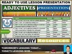 ADJECTIVES - DEGREES OF COMPARISON: LESSON PRESENTATION