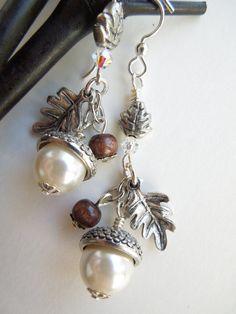 Acorn Earrings Pearl Earrings Nature Earrings by BlueMonkeyBling, $26.20