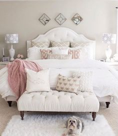 If you are tired of your master bedroom, you can incorporate a few changes that make a big difference. Romantic master bedroom interior design ideas can include updating your wall finishes with a…More White Bedroom, Bedroom Makeover, Home Bedroom, Romantic Bedroom, Bedroom Design, Bedroom Furniture, Bedroom Inspirations, Remodel Bedroom, Bedroom